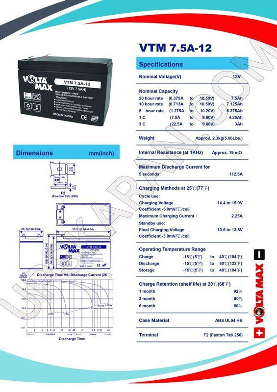 باتری یو پی اس 12 ولت 7.5 آمپر ولتامکس- دیتاشیت 1