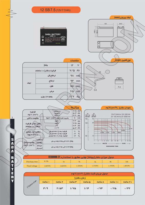 باتری یو پی اس 12 ولت 7.5 آمپر صبا باتری-دیتاشیت1