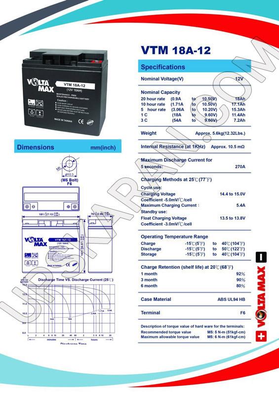 باتری یو پی اس ۱۲ ولت ۱۸ آمپر ولتا مکس-دیتاشیت۱