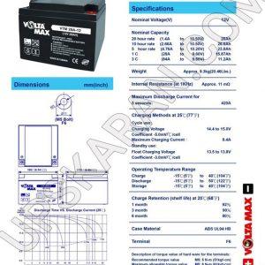 باتری یو پی اس 12 ولت 28 آمپر ولتا مکس-دیتاشیت1