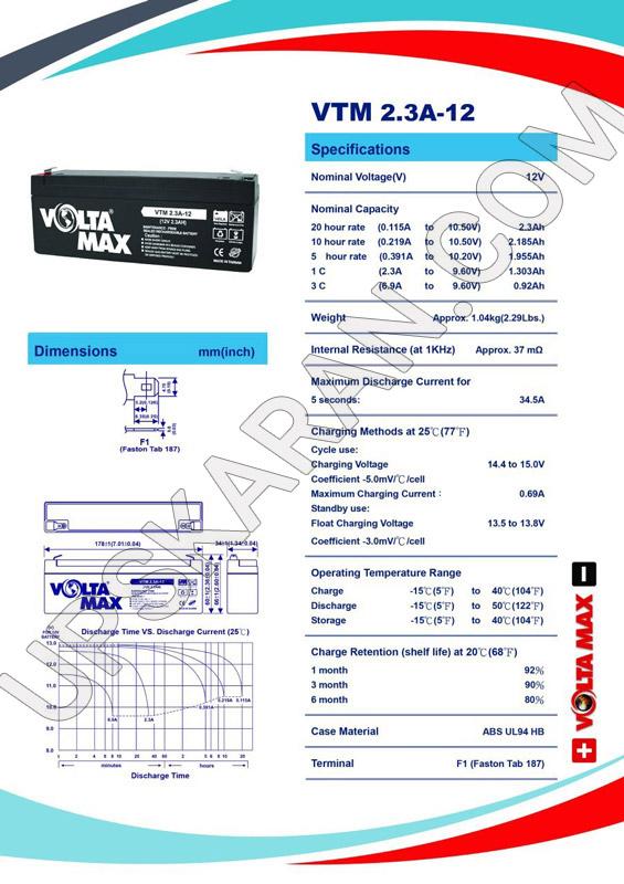 باتری یو پی اس 12 ولت 2.3 آمپر ولتا مکس-دیتاشیت1