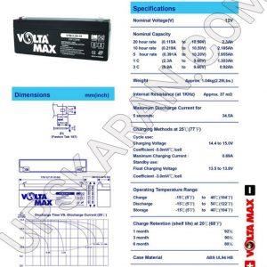 باتری یو پی اس 12 ولت 1.2 آمپر ولتا مکس-دیتاشیت1