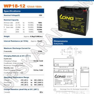 باتری یو پی اس 12 ولت 18 آمپر لانگ-دیتاشیت1