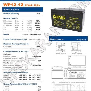 باتری یو پی اس 12 ولت 12 آمپر لانگ-دیتاشیت1