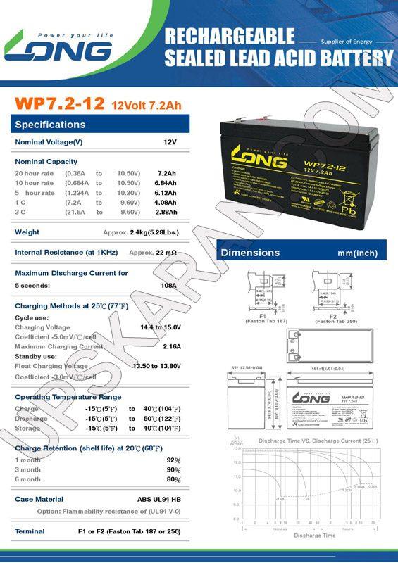 باتری یو پی اس 12 ولت 7.2 آمپر لانگ-دیتاشیت1