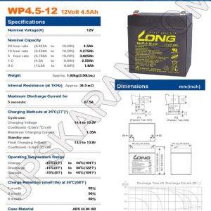 باتری یو پی اس 12 ولت 4.5 آمپر لانگ-دیتاشیت1