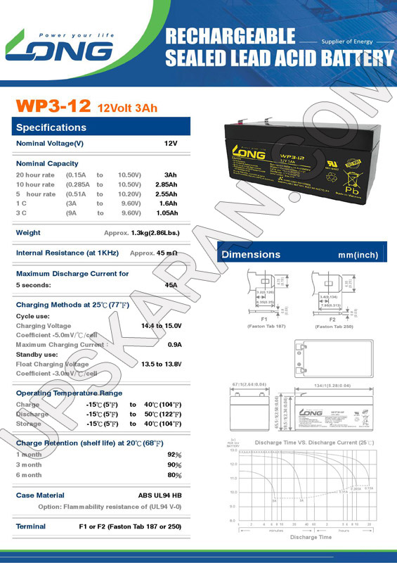 باتری یو پی اس 12 ولت 3 آمپر لانگ-دیتاشیت1
