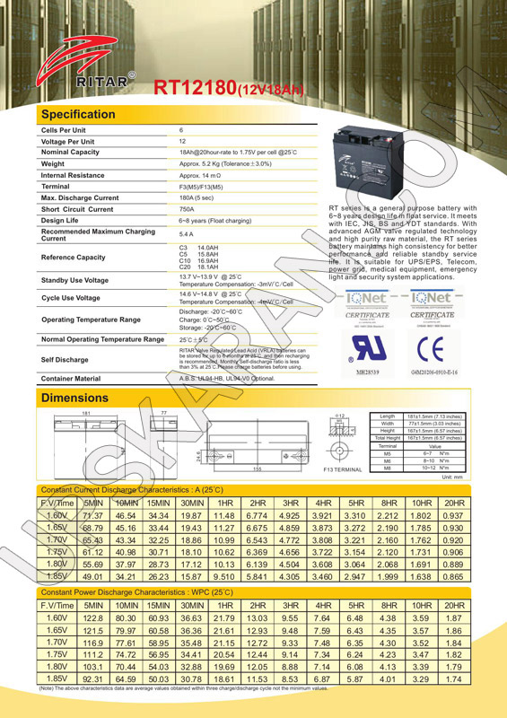 باتری یو پی اس ۱۲ ولت ۱۸ آمپر ریتار-دیتاشیت۱