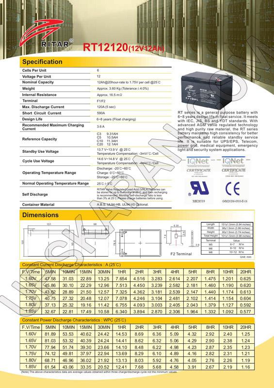 باتری یو پی اس ۱۲ ولت ۱۲ آمپر ریتار-دیتاشیت۱