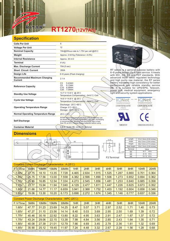 باتری یو پی اس ۱۲ ولت ۷ آمپر ریتار-دیتاشیت۱