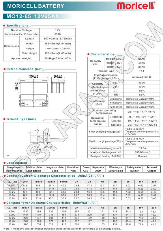 باتری یو پی اس ۱۲ ولت ۶۵ آمپر موریسل-دیتاشیت۱