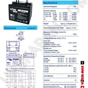 باتری یو پی اس 12 ولت 42 آمپر ولتامکس- دیتاشیت 1