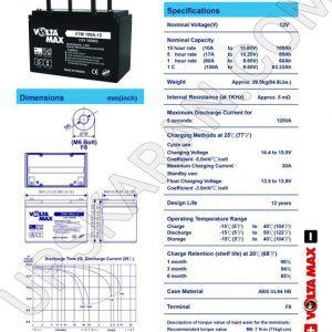 باتری یو پی اس 12 ولت 100 آمپر ولتامکس- دیتاشیت 1